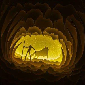 Mysterious Creature Wild Nature Animals Handmade Lantern Home Decor,Mysterious Creature Wild Nature Animals Handmade Lantern Home Decor, Wolf with Mountain Wall Decoration Idea, Wolf Wand Digital Pattern Instant Download, Wolves Legend  Exploration