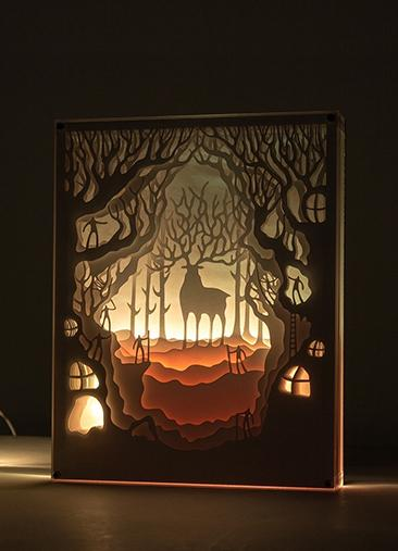 Reindeer Goddess Digital Pattern Instant Download, Deer King of the Forest Digital Design Art, Exploring Deers in the Woods Shadow Box, Reindeer Silhouette Forest Adventure Paper Craft DIY, Princess Mononoke Forest Spirit Papercut Template Printable