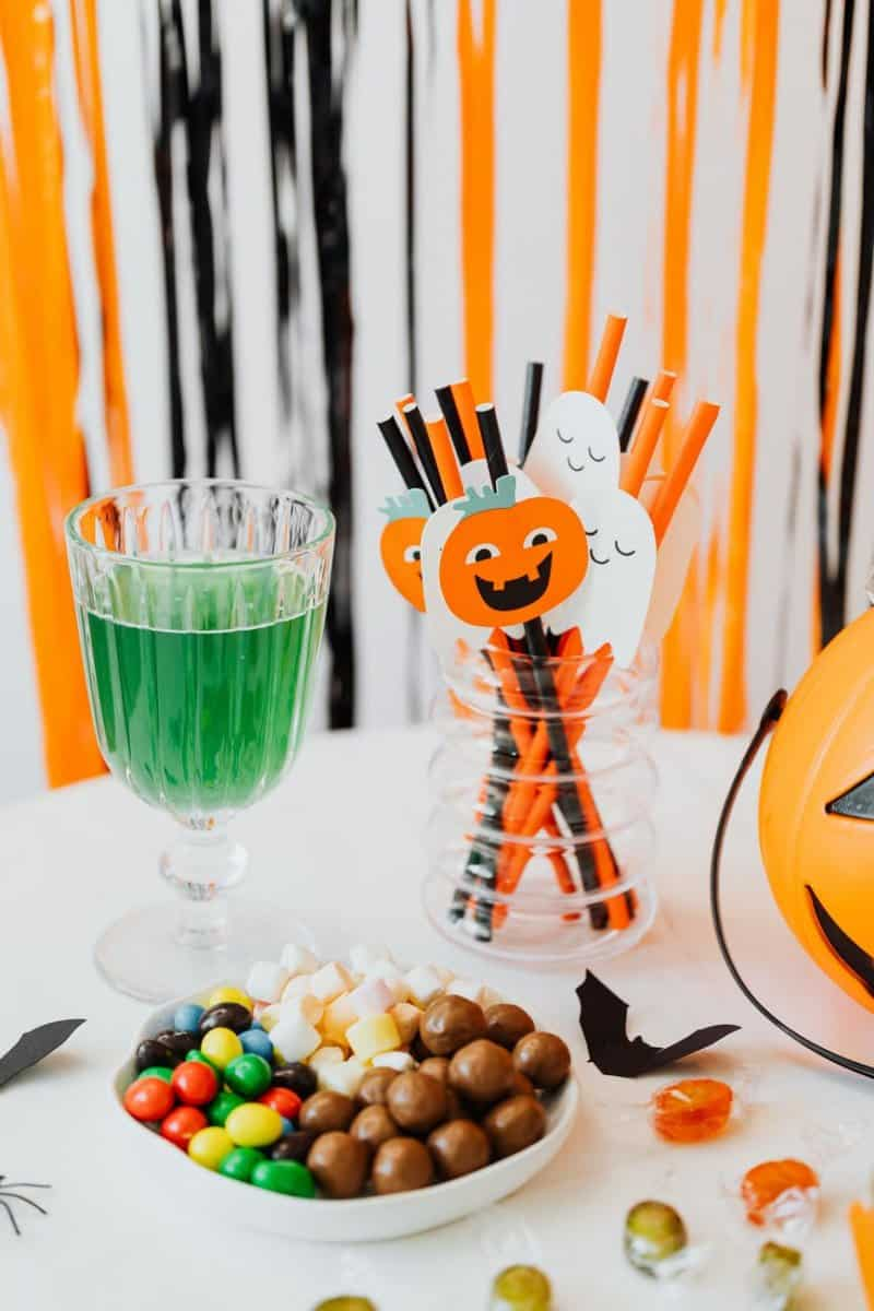 halloween candy and decorations
