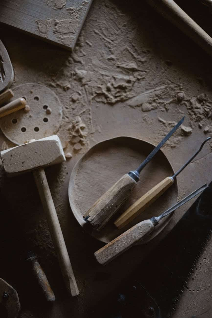 set of carpentry tools with wooden hammer